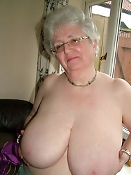 Furry grandma with fat tits taunting and posing
